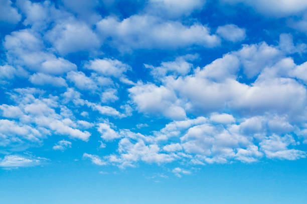 Perfect Blue Sky with Fluffy Clouds No.1 Morning sky with fluffy clouds. Vertical version too... altocumulus stock pictures, royalty-free photos & images