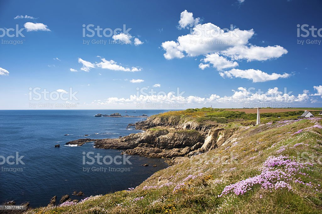 Perfect blue water ocean coast with sunny skies royalty-free stock photo