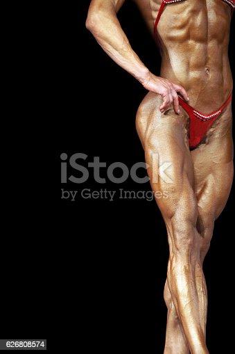 Perfect female body isolated on black background