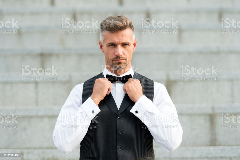Perfect bow tie. Gentleman modern style. Guy well groomed handsome...