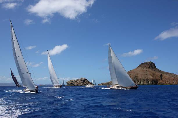 Perfect Caribbean vacation. Sailing at St.Barth stock photo
