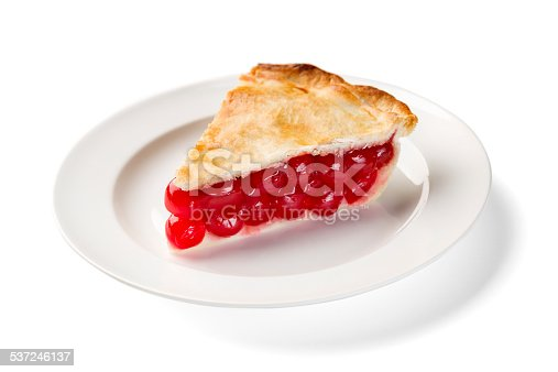 A perfect slice of cherry pie on a white plate on a white background, clipping path is attached.  Please see my portfolio for other food and drink images.