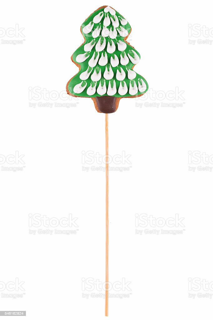 Perfect Christmas gingerbread in the shape of  trees. stock photo