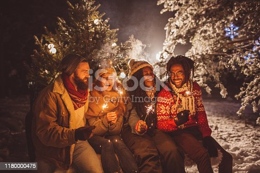Friends arrived home with Christmas tree, it is snowy weather and everything need to be perfect for Christmas, they burning sparklers to celebrate