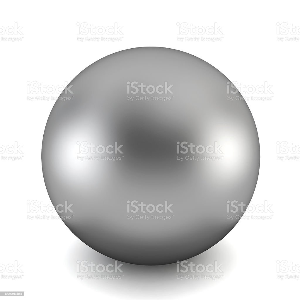 A perfect chrome ball with a shadow on a white background stock photo
