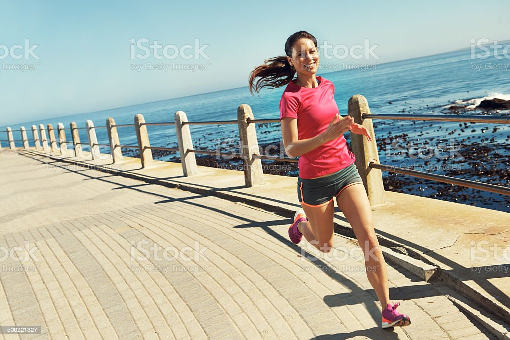 Perfect conditions for a run beside the sea stock photo