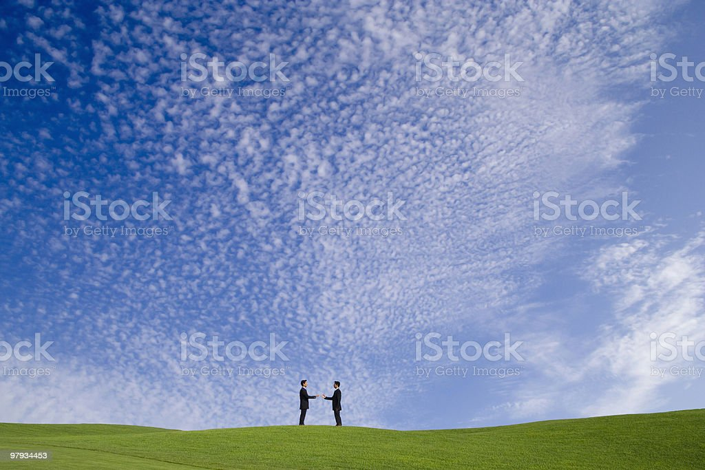 perfect deal on a the golf course royalty-free stock photo