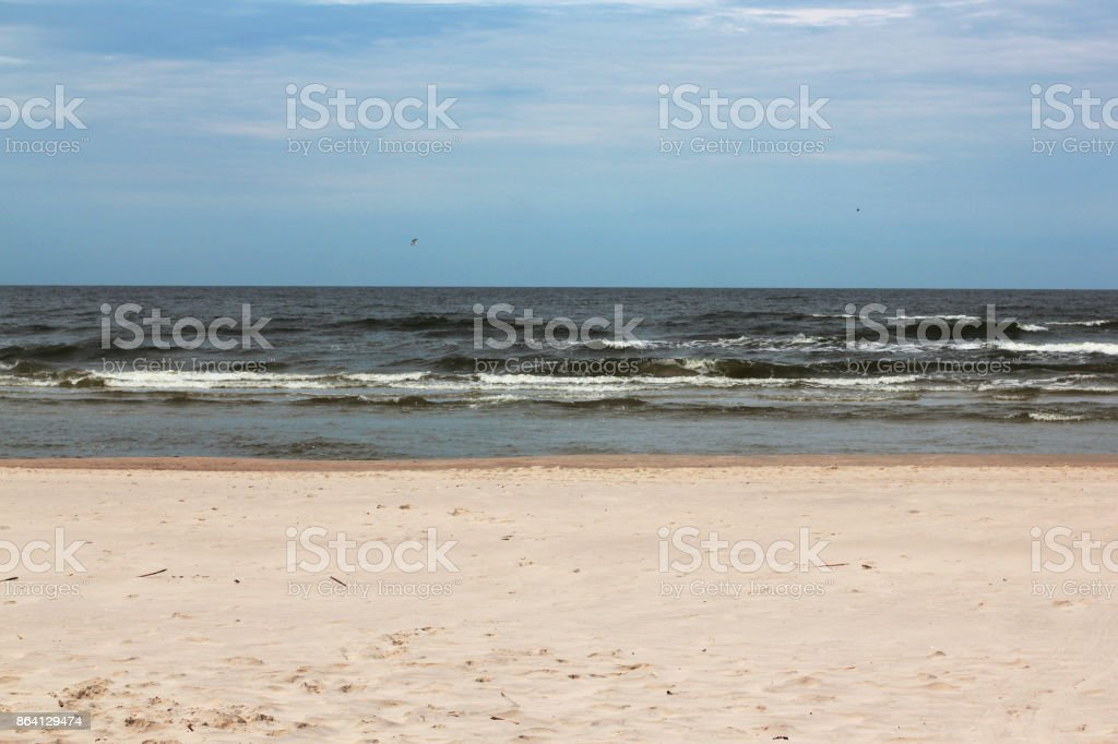 Perfect deserted white sand beach with the Baltic sea. tricolor royalty-free stock photo