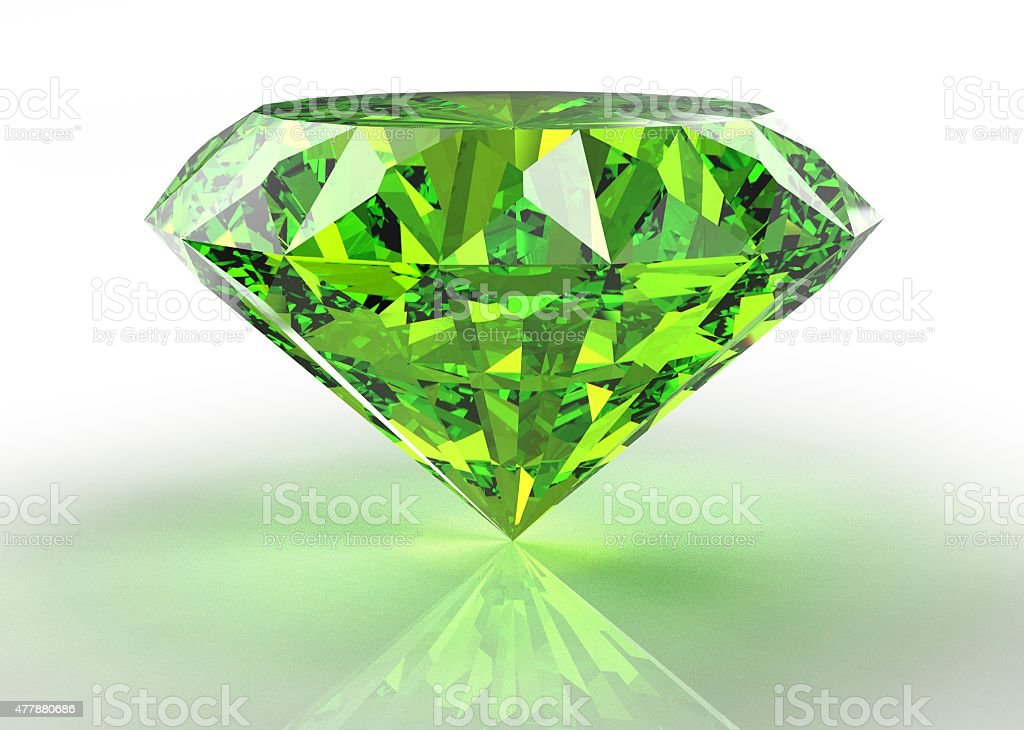 perfect emerald  isolated on a white background stock photo