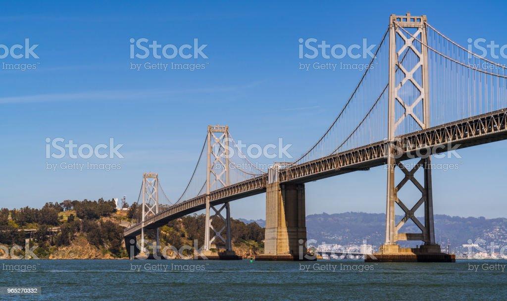 Perfect evening Oakland Bay Bridge to San Francisco , California Suspension bridge over the Bay Area zbiór zdjęć royalty-free