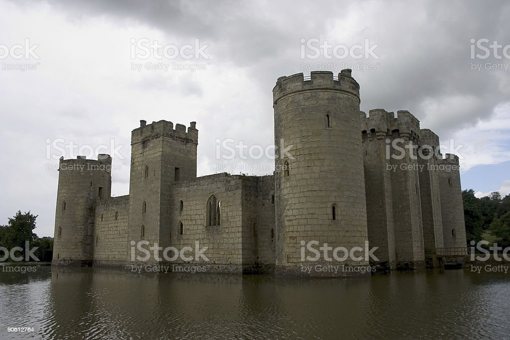 Perfect example of a late medieval moated castle stock photo