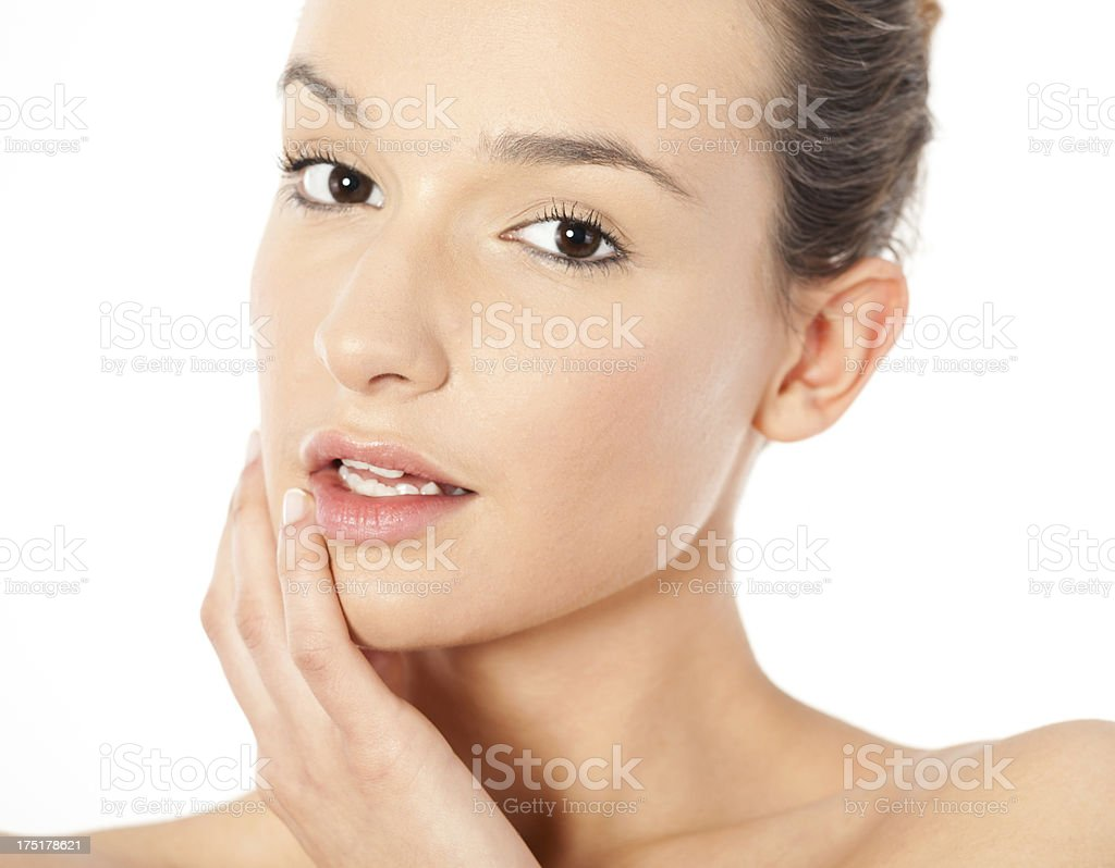 Perfect Face of Beautiful Young Woman royalty-free stock photo