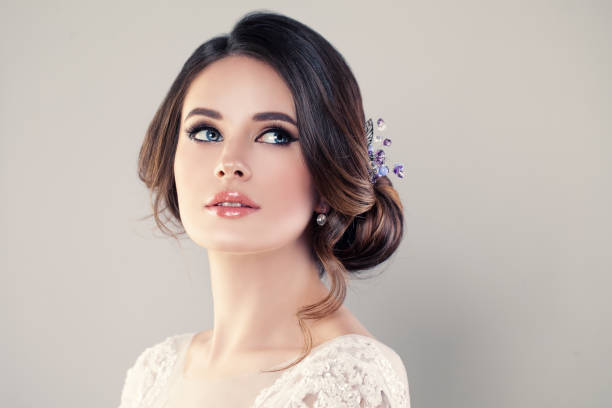 perfect fashion model woman with beautiful hairstyle. prom or bride girl - prom stock photos and pictures