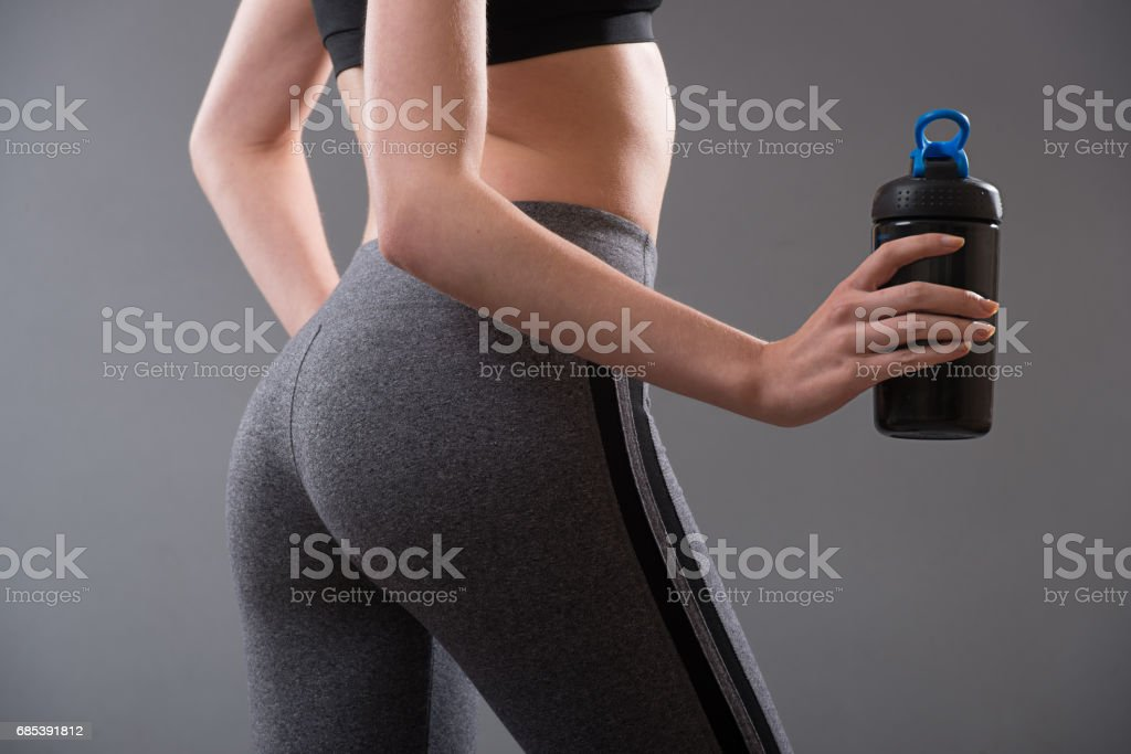 Perfect female body shape after fitness and sport protein stock photo