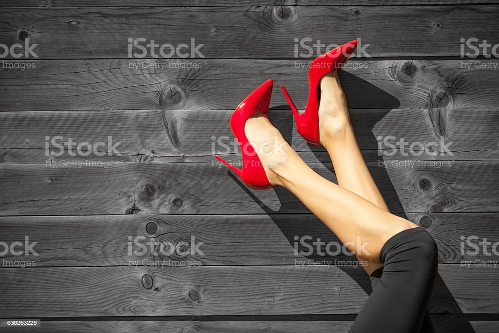 Perfect female legs stock photo