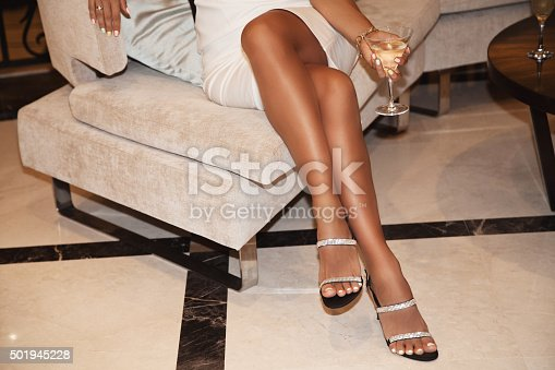 istock Perfect female legs wearing high heels 501945228