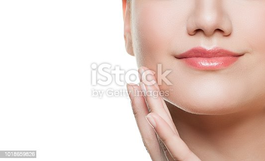 Perfect Female  Lips and Hands with Natural Nails Closeup Isolated on White Background