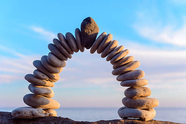 perfect form of arch - symmetry stock photos and pictures