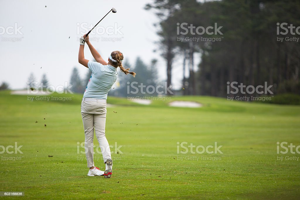 Perfect golf swing stock photo