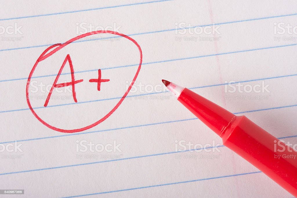 Perfect grade with pen stock photo