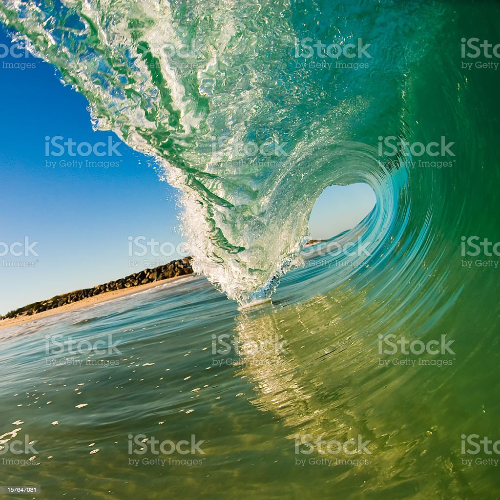 Perfect Green Wave stock photo