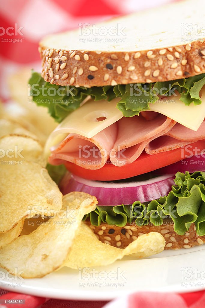 Perfect ham and cheese sandwich stock photo