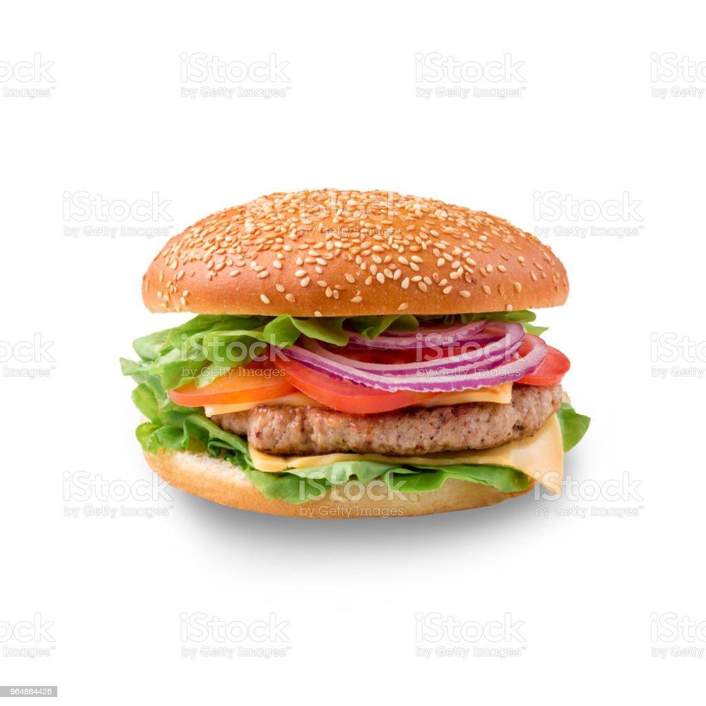 Perfect hamburger classic burger american cheeseburger isolated royalty-free stock photo