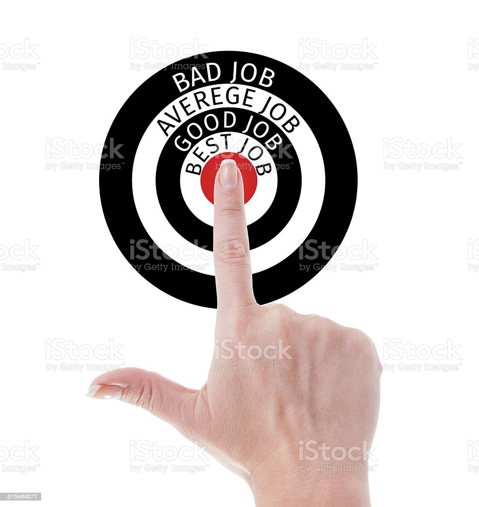 Perfect job search concept using hand poiting middle of target stock photo