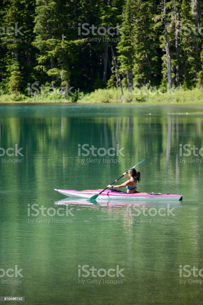 Perfect kayaking day! stock photo