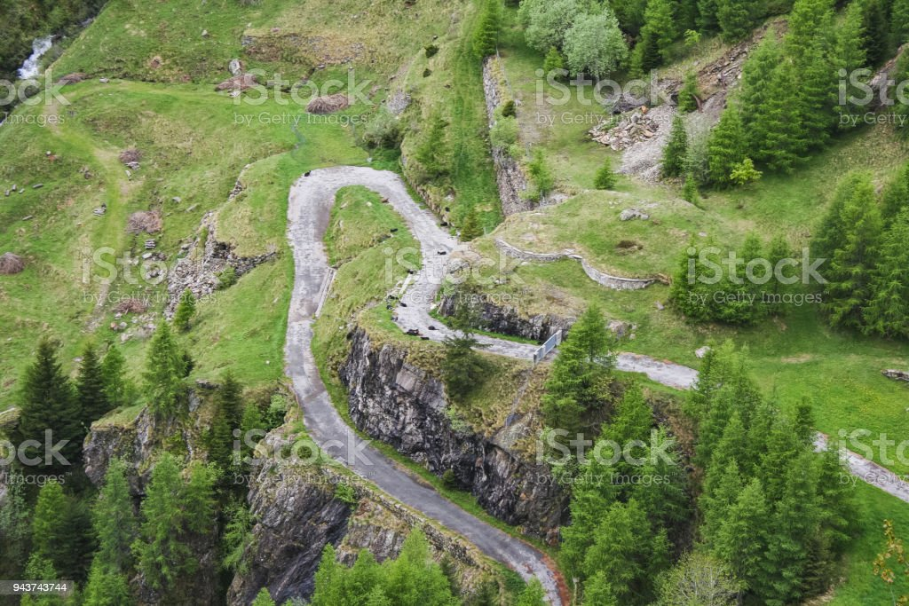 Perfect landscape fantastic mountain road Switzerland stock photo