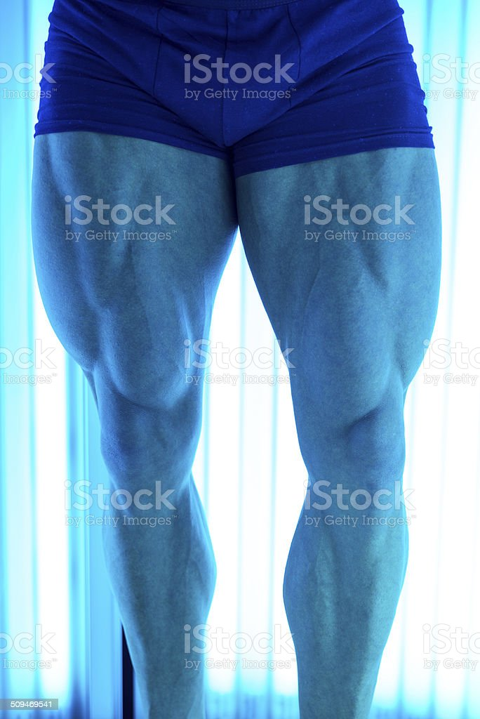 Perfect Legs At Solarium In Beauty Salon stock photo
