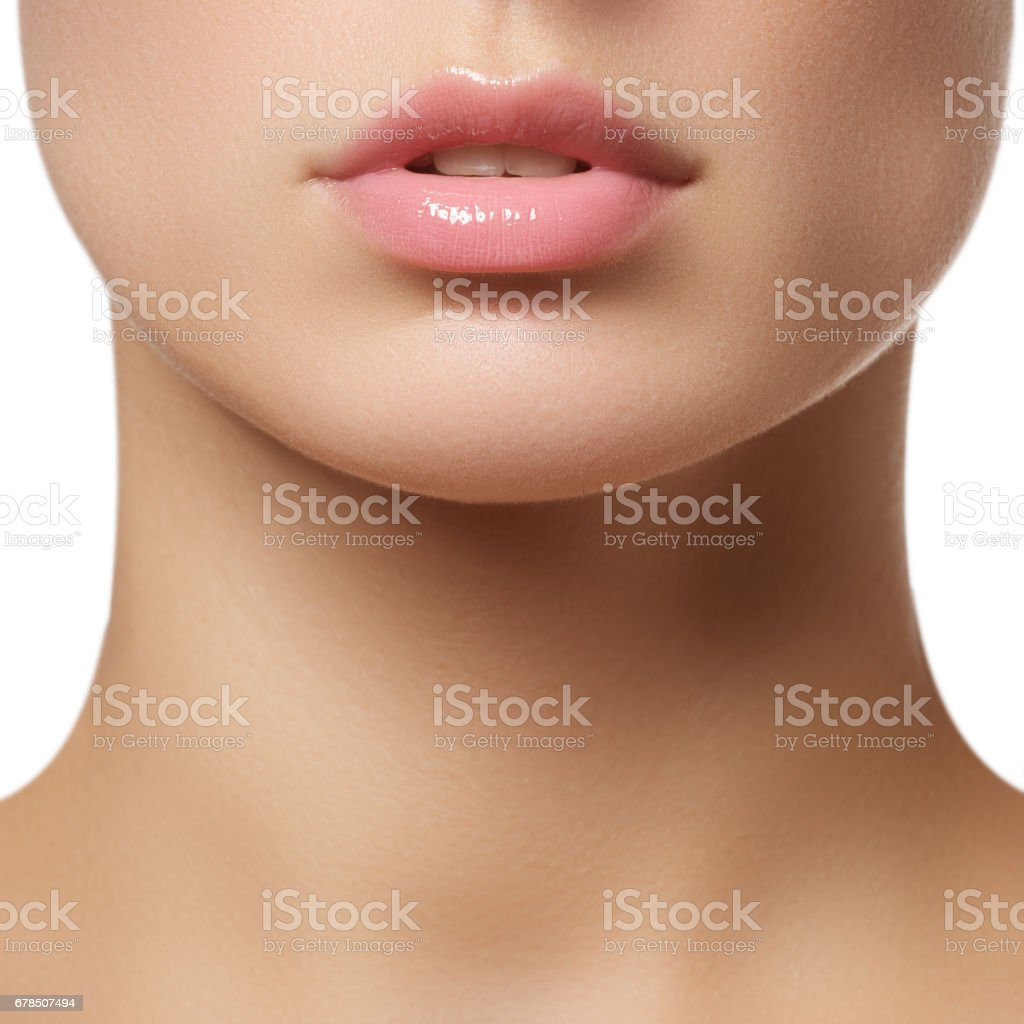 Perfect lips. Sexy girl mouth close-up. Beauty young woman стоковое фото
