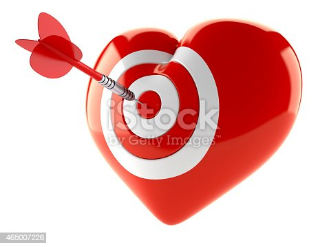 Heart bull's eye concept isolated on white background