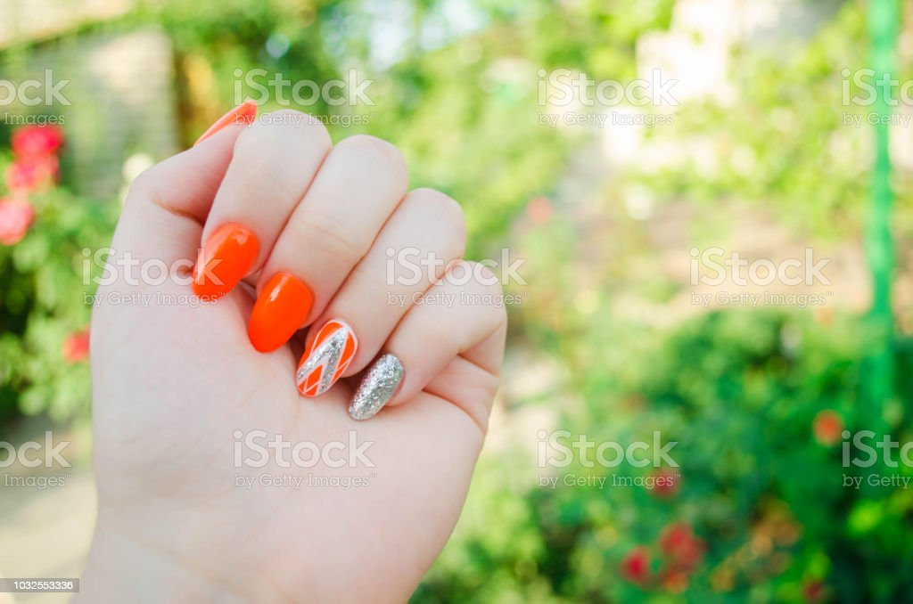 Perfect manicure and natural nails. Attractive modern nail art...