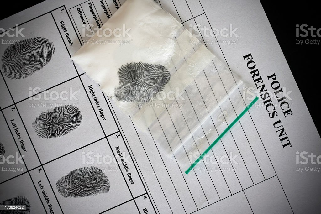 Perfect Match. Fingerprint found on evidence matching police records. stock photo