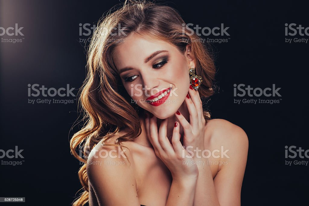 Perfect model with the divine makeup in the Studio. stock photo