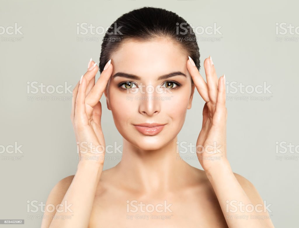 Perfect Model Woman with Healthy Skin. Spa Beauty, Facial Treatment and Cosmetology Concept stock photo