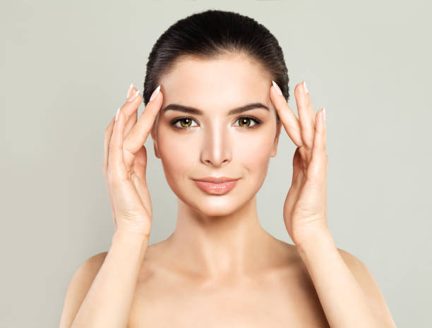 perfect model woman with healthy skin. spa beauty, facial treatment and cosmetology concept - human face stock photos and pictures
