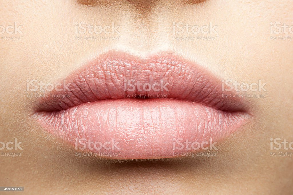 Perfect natural lips stock photo