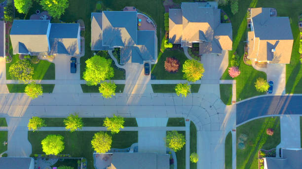 Perfect Neighborhoods, Homes, Houses, Springtime Aerial View stock photo