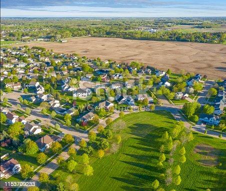 Perfect Neighborhoods, Homes, Houses, Springtime Aerial View.