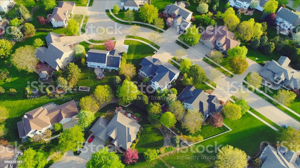 Perfect neighborhoods, homes, Springtime aerial view at sunrise. stock photo