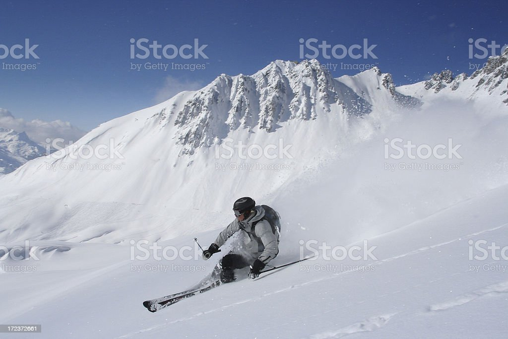 Perfect off-piste skiing stock photo