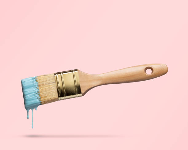 Perfect paintbrush on pink with clipping path stock photo