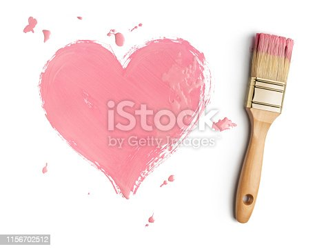 Perfect paintbrush with pink heart on white. This file is cleaned and retouched.