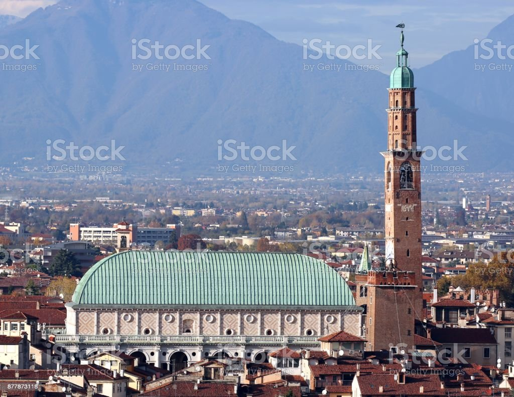 Perfect Panoramic view of Vicenza city in Italy photographed by - foto stock