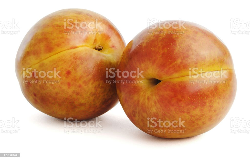 Perfect Plums Isolated on White royalty-free stock photo