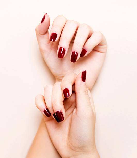 Perfect red nails stock photo