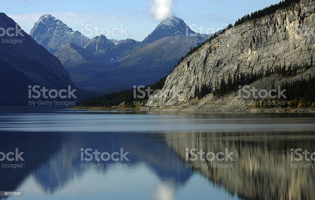 Perfect reflection in the Kananaskis Country Canada stock photo
