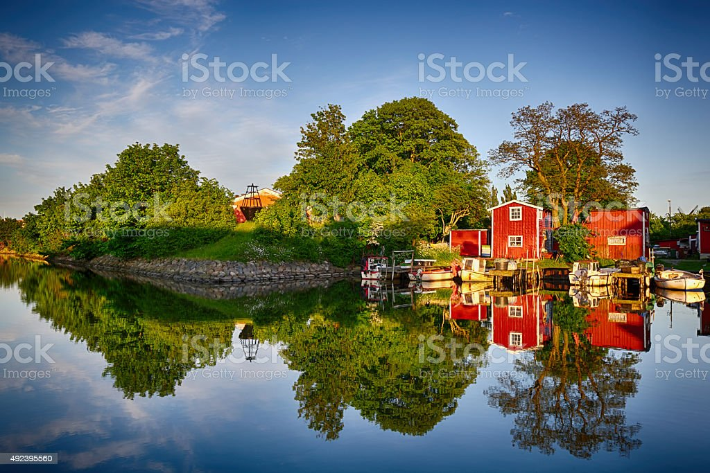perfect reflection of canal in Malmo stock photo